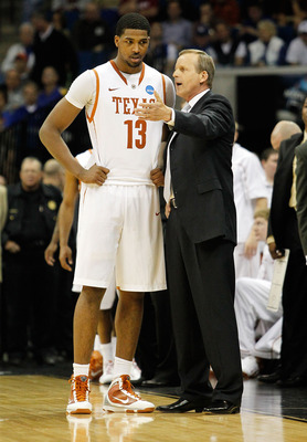 TULSA, OK - MARCH 18:  Head coach Rick Barnes of the Texas Longhorns speaks with Tristan Thompson #13 during the second round game against the Oakland Golden Grizzlies in the 2011 NCAA men's basketball tournament at BOK Center on March 18, 2011 in Tulsa,