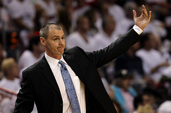 MIAMI, FL - MAY 31:  Head coach Rick Carlisle of the Dallas Mavericks reacts against the Miami Heat in Game One of the 2011 NBA Finals at American Airlines Arena on May 31, 2011 in Miami, Florida. NOTE TO USER: User expressly acknowledges and agrees that,