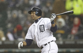 DETROIT - APRIL 22: Jhonny Peralta #27 of the Detroit Tigers triples to deep center field in the second inning scoring Miguel Cabrera (not in photo) during the game against the Chicago White Sox at Comerica Park on April 22, 2011 in Detroit, Michigan. The