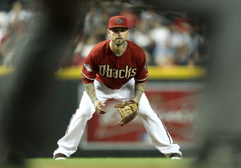PHOENIX, AZ - JUNE 01:  Infielder Ryan Roberts #14 of the Arizona Diamondbacks in action during the Major League Baseball game against the Florida Marlins at Chase Field on June 1, 2011 in Phoenix, Arizona.  The Diamondbacks defeated the Marlins 6-5.  (Ph