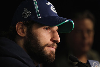 VANCOUVER, BC - MAY 31:  Ryan Kesler #17 of the Vancouver Canucks meets with the media following a practice session the day before the opening game of the 2011 NHL Stanley Cup Finals at the Rogers Arena on May 31, 2011 in Vancouver, Canada.  (Photo by Bru