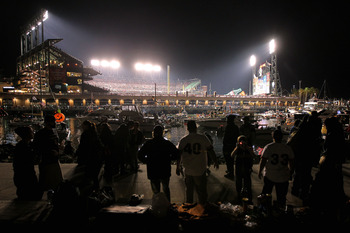 SAN FRANCISCO - OCTOBER 27:  Boaters and fans congregate in and around McCovey Cove outside of AT&T Park during Game One of the 2010 MLB World Series between the Texas Rangers and the San Francisco Giants on October 27, 2010 in San Francisco, California.