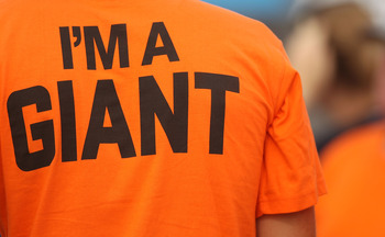 SYDNEY, AUSTRALIA - NOVEMBER 18: A fan wears a Western Sydney Giants t-shirt during a Greater Western Sydney AFL training session at Blacktown Olympic Park on November 18, 2010 in Sydney, Australia.  (Photo by Mark Metcalfe/Getty Images)