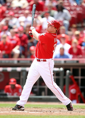 CINCINNATI, OH - MAY 19:  Jay Bruce #32 of the Cincinnati Reds hits one of his two home runs during the game against the Pittsburgh Pirates at Great American Ball Park on May 19, 2011 in Cincinnati, Ohio.  (Photo by Andy Lyons/Getty Images)
