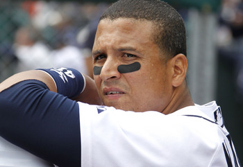 DETROIT, MI - APRIL 11:  Victor Martinez #41 of the Detroit Tigers looks on while playing the Texas Rangers at Comerica Park on April 11, 2011 in Detroit, Michigan. Texas won the game 2-0. (Photo by Gregory Shamus/Getty Images)