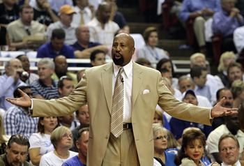 ORLANDO, FL - MAY 04:  Head coach Mike Woodson of the Atlanta Hawks protests to an official while taking on the Orlando Magic in Game One of the Eastern Conference Semifinals during the 2010 NBA Playoffs at Amway Arena on May 4, 2010 in Orlando, Florida.