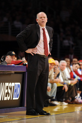 LOS ANGELES, CA - JANUARY 04:  Head Coach John Kuester of the Detroit Pistons watches play during a 108-83 loss to the Los Angeles Lakers at the Staples Center on January 4, 2011 in Los Angeles, California. NOTE TO USER: User expressly acknowledges and ag
