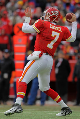 KANSAS CITY, MO - JANUARY 09:  Quarterback Matt Cassel #7 of the Kansas City Chiefs looks to pass against the Baltimore Ravens in their 2011 AFC wild card playoff game at Arrowhead Stadium on January 9, 2011 in Kansas City, Missouri.  (Photo by Doug Pensi