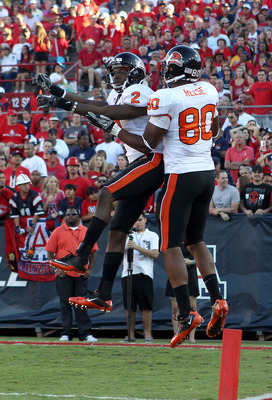 TUCSON, AZ - OCTOBER 09:  Wide receiver Markus Wheaton #2 of the Oregon State Beavers celebrates with teammate John Reese #80 after a 48 yard touchdown reception against the Arizona Wildcats during the second quarter of the college football game at Arizon