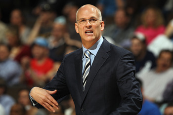 DENVER, CO - MARCH 21:  Head coach Jay Triano of the Toronto Raptors leads his team against the Denver Nuggets at the Pepsi Center on March 21, 2011 in Denver, Colorado. NOTE TO USER: User expressly acknowledges and agrees that, by downloading and or usin