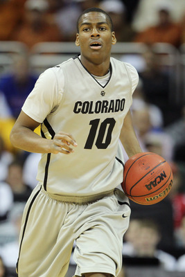 KANSAS CITY, MO - MARCH 09:  Alec Burks #10 of the Colorado Buffaloes controls the ball against the Iowa State Cyclones during the first round of the 2011 Phillips 66 Big 12 Men's Basketball Tournament at Sprint Center on March 9, 2011 in Kansas City, Mis
