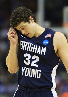 NEW ORLEANS, LA - MARCH 24:  Jimmer Fredette #32 of the Brigham Young Cougars reacts during their game against the Florida Gators in the Southeast regional of the 2011 NCAA men's basketball tournament at New Orleans Arena on March 24, 2011 in New Orleans,