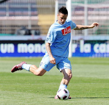 LECCE, ITALY - MAY 08:  Marek Hamsik of Napoli in action during the Serie A match between Lecce and SSC Napoli at Stadio Via del Mare on May 8, 2011 in Lecce, Italy.  (Photo by Giuseppe Bellini/Getty Images)