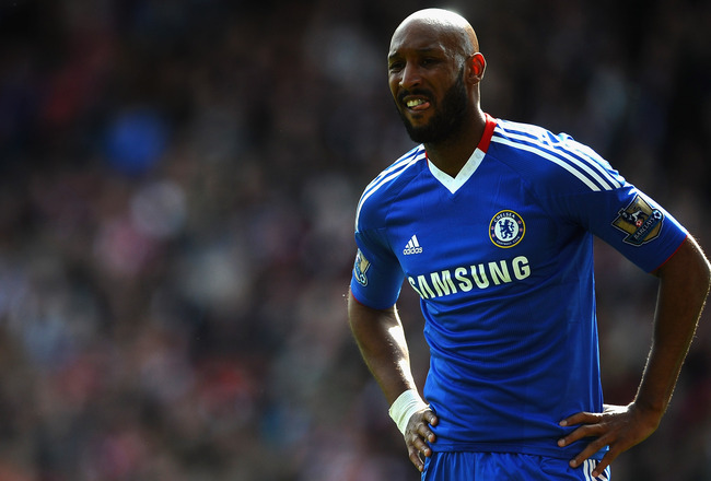 STOKE ON TRENT, ENGLAND - APRIL 02: Nicolas Anelka of Chelsea shows his frustrations during the Barclays Premier League match between Stoke City and Chelsea at Britannia Stadium on April 2, 2011 in Stoke on Trent, England.  (Photo by Laurence Griffiths/Ge