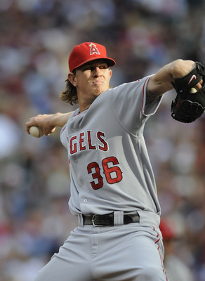 MINNEAPOLIS, MN - MAY 28: Jered Weaver #36 of the Los Angeles Angels of Anaheim against the Minnesota Twins during the first inning of their game on May 28, 2011 at Target Field in Minneapolis, Minnesota. (Photo by Hannah Foslien/Getty Images)