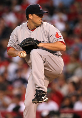 ANAHEIM, CA - JULY 27:  John Lackey #40 of the Boston Red Sox throws a pitch against the Los Angeles Angels of Anaheim on July 27, 2010 at Angel Stadium in Anaheim, California.  (Photo by Stephen Dunn/Getty Images)