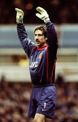 13 Dec 1998:  David Seaman of Arsenal in action during the FA Carling Premiership match against Aston Villa played at Villa Park in Birmingham, England.  The match finished in a 3-2 win for Aston Villa. \ Mandatory Credit: Clive Brunskill /Allsport