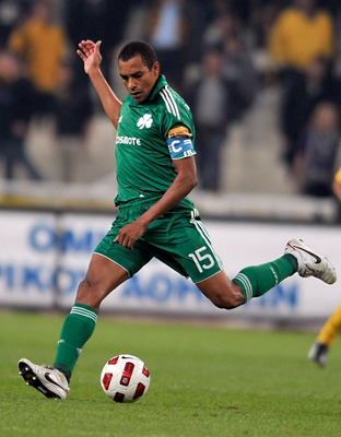 ATHENS, GREECE - OCTOBER 24:  Gilberto Silva of Panathinaikos FC in action during the Greek Super League match against AEK Athens at the Olympic Stadium on October 24, 2010 in Athens, Greece. (Photo by Louisa Gouliamaki/EuroFootball/Getty Images)