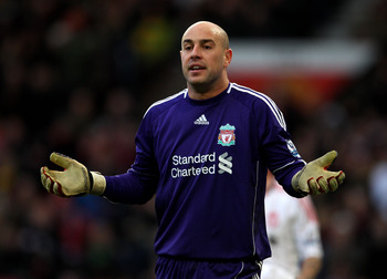 MANCHESTER, ENGLAND - JANUARY 09:  Pepe Reina of Liverpool gestures during the FA Cup sponsored by E.ON 3rd round match between Manchester United and Liverpool at Old Trafford on January 9, 2011 in Manchester, England. (Photo by Alex Livesey/Getty Images)