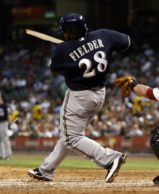 HOUSTON - APRIL 30:  Prince Fielder #28 of the Milwaukee Brewers shatters his bat in the sixth inning in front of catcher J.R. Towles #46 of the Houston Astros at Minute Maid Park on April 30, 2011 in Houston, Texas.  (Photo by Bob Levey/Getty Images)