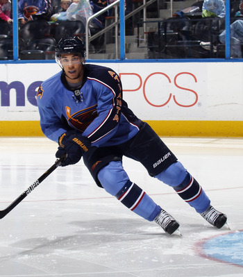ATLANTA, GA - MARCH 27:  Evander Kane #9 of the Atlanta Thrashers skates against the Ottawa Senators at the Philips Arena on March 27, 2011 in Atlanta, Georgia. The Thrashers defeated the 5-4 in the shoot out.  (Photo by Bruce Bennett/Getty Images)