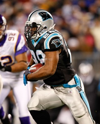 CHARLOTTE, NC - DECEMBER 20:  Jonathan Stewart #28 of the Carolina Panthers against the Minnesota Vikings at Bank of America Stadium on December 20, 2009 in Charlotte, North Carolina.  (Photo by Kevin C. Cox/Getty Images)
