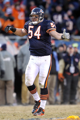 CHICAGO, IL - JANUARY 23:  Brian Urlacher #54 of the Chicago Bears reacts to a penalty called while taking on the Green Bay Packers in the NFC Championship Game at Soldier Field on January 23, 2011 in Chicago, Illinois.  (Photo by Andy Lyons/Getty Images)