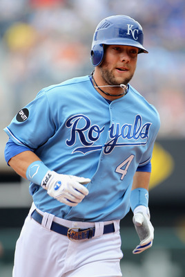 KANSAS CITY, MO - MAY 30:  Alex Gordon #4 of the Kansas City Royals rounds the bases after hitting a leadoff home run during the 1st inning of the game against the Los Angeles Angels of Anaheim on May 30, 2011 at Kauffman Stadium in Kansas City, Missouri.