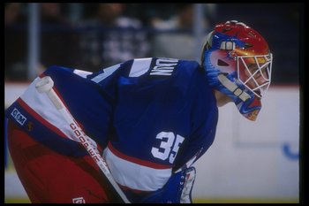 16 Jan 1996:  Goaltender Nikolai Khabibulin of the Winnipeg Jets looks on during a game against the Washington Capitals at the USAir Arena in Landover, Maryland.  The game was a tie, 1-1. Mandatory Credit: Doug Pensinger  /Allsport
