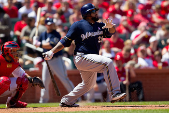 ST. LOUIS, MO - MAY 8: Prince Fielder #28 of the Milwaukee Brewers hits a single against the St. Louis Cardinals at Busch Stadium on May 8, 2011 in St. Louis, Missouri.  (Photo by Dilip Vishwanat/Getty Images)