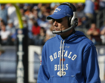 NASHVILLE, TN - NOVEMBER 15: Head coach Dick Jauron of the Buffalo Bills reacts to his teams play against the Tennessee Titans in their NFL game at LP Field on November 15, 2009 in Nashville, Tennessee.    (Photo by John Sommers II/Getty Images)