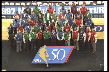 8 Feb 1997:  The 50 Greatest Players in NBA History pose before the All-Star game. Mandatory Credit: Brian Bahr  /Allsport