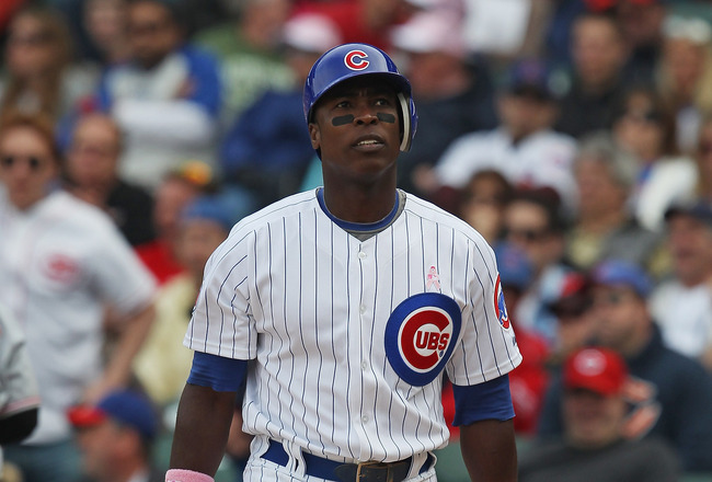 CHICAGO, IL - MAY 08: Alfonso Soriano #12 of the Chicago Cubs reacts after striking out to end the 8th inning against the Cincinnati Reds at Wrigley Field on May 8, 2011 in Chicago, Illinois. The Reds defeated the Cubs 2-0. (Photo by Jonathan Daniel/Getty