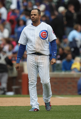 CHICAGO, IL - MAY 27: Aramis Ramirez #16 of the Chicago Cubs walks across the infield after flying out with the bases loaded to end the 8th inning against the Pittsburgh Pirates at Wrigley Field on May 27, 2011 in Chicago, Illinois. The Pirates defeated t
