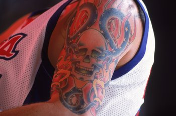 3 Feb 2001:  A close up view of the tattoos of Cherokee Parks #44 of the Los Angeles Clippers during the game against the Portland Trail Blazers at the STAPLES Center in Los Angeles, California. The Clippers defeated the Trail Blazers 90-89.  NOTE TO USER