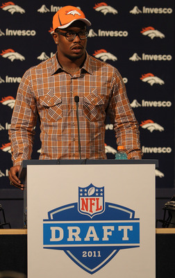 ENGLEWOOD, CO - APRIL 29:  Von Miller of the Denver Broncos speaks to the media at Dove Valley on April 29, 2011 in Englewood, Colorado. Miller, a projected outside linebacker in head coach John Fox's new 4-3 scheme, was selected second overall from Texas