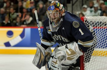 DENVER - APRIL 10:  Goaltender Jordan Pearce #1 of the Notre Dame Fighting Irish defends the goal against the Boston College Golden Eagles in the 2008 NCAA Frozen Four Men's Ice Hockey National Championship at the Pepsi Center on April 12, 2008 in Denver,