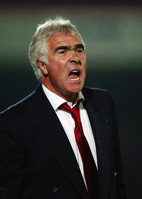 CHELTENHAM - SEPTEMBER 5:  Cheltenham Town manager Bobby Gould loses his cool during the Nationwide League Division Three match between Cheltenham Town and Northampton Town held on September 5, 2003 at Whaddon Road, in Cheltenham, England. Cheltenham Town