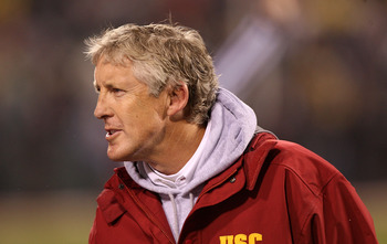 SAN FRANCISCO - DECEMBER 26: Head coach Pete Carroll of the USC Trojans celebrates against the Boston College Eagles during the 2009 Emerald Bowl at AT&T Park on December 26, 2009 in San Francisco, California. (Photo by Jed Jacobsohn/Getty Images)