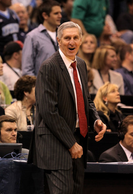 SALT LAKE CITY - APRIL 30:  Head coach Jerry Sloan of the Utah Jazz walks the sidelines during their game against the Denver Nuggets in Game Six of the Western Conference Quarterfinals of the 2010 NBA Playoffs at EnergySolutions Arena on April 30, 2010 in