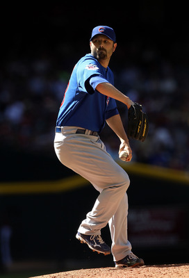 PHOENIX, AZ - MAY 01:  Relief pitcher John Grabow #43 of the Chicago Cubs pitches against the Arizona Diamondbacks during the Major League Baseball game at Chase Field on May 1, 2011 in Phoenix, Arizona.  The Diamondbacks defeated the Cubs 4-3.  (Photo by