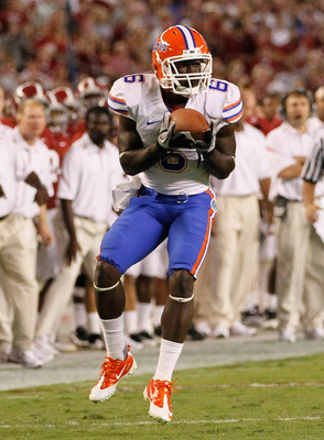 TUSCALOOSA, AL - OCTOBER 02:  Deonte Thompson #6 of the Florida Gators against the Alabama Crimson Tide at Bryant-Denny Stadium on October 2, 2010 in Tuscaloosa, Alabama.  (Photo by Kevin C. Cox/Getty Images)
