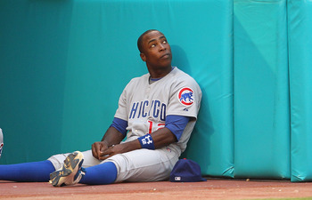 MIAMI GARDENS, FL - MAY 19:  Alfonso Soriano #12 of the Chicago Cubs looks on during a game against  the Florida Marlins at Sun Life Stadium on May 19, 2011 in Miami Gardens, Florida.  (Photo by Mike Ehrmann/Getty Images)