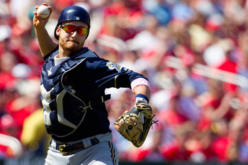 ST. LOUIS, MO - MAY 8: Jonathan Lucroy #20 of the Milwaukee Brewers throws to first base against the St. Louis Cardinals at Busch Stadium on May 8, 2011 in St. Louis, Missouri.  (Photo by Dilip Vishwanat/Getty Images)