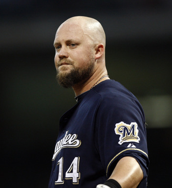 HOUSTON - APRIL 30:  Casey McGehee #14 of the Milwaukee Brewers looks back at the dugout after strinking out against the Houston Astros at Minute Maid Park on April 30, 2011 in Houston, Texas.  (Photo by Bob Levey/Getty Images)