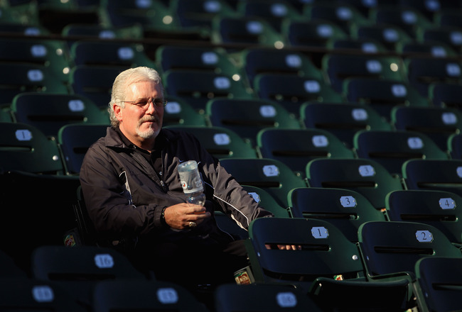 SAN FRANCISCO - OCTOBER 13:  San Francisco Giants general manager Brian Sabean sits in the stands during a workout session in preparation for the National League Championship Series at AT&T Park on October 13, 2010 in San Francisco, California.  (Photo by