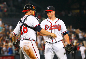 ATLANTA, GA - JUNE 01:  Craig Kimbrel #46 of the Atlanta Braves celebrates with Brian McCann #16 after their 4-3 win over the San Diego Padres in the ninth inning at Turner Field on June 1, 2011 in Atlanta, Georgia.  (Photo by Kevin C. Cox/Getty Images)
