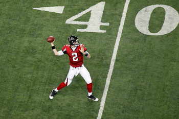 ATLANTA, GA - JANUARY 15:  Matt Ryan #2 of the Atlanta Falcons warms up against the Green Bay Packers during their 2011 NFC divisional playoff game at Georgia Dome on January 15, 2011 in Atlanta, Georgia.  (Photo by Kevin C. Cox/Getty Images)