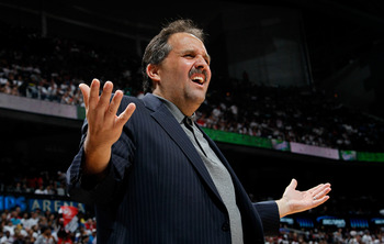 ATLANTA, GA - APRIL 28:  Stan Van Gundy of the Orlando Magic questions a call by the official during Game Six of the Eastern Conference Quarterfinals in the 2011 NBA Playoffs against the Atlanta Hawks at Philips Arena on April 28, 2011 in Atlanta, Georgia