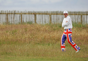 TROON, SCOTLAND - JULY 15: Ian Poulter of England wearing his Union Jack trousers during the first round of the 133rd Open Championship at the Royal Troon Golf Club on July 15, 2004 in Troon, Scotland.  (Photo by Andrew Redington/Getty Images)